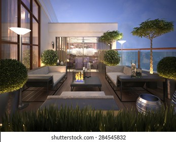 roof - terrace in a modern style. 3d render