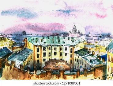 Roofs of a big city. Watercolor   S.Peterburg