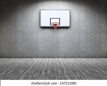 Room with a basketball table on the wall