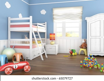 Children´s  room in blue walls with bunkbed and lots of toys on the floor