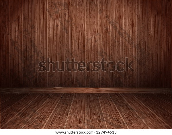 Room covered with wooden planks. Wooden walls and floor. Raster version.