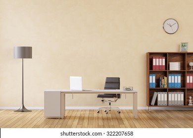 Room with desk and laptop computer as business office (3D Rendering)