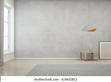 Room with empty concrete wall background in modern house, Minimal interior design of cozy home - 3D rendering