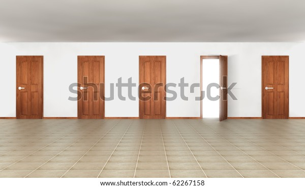 Room with five doors, one of them open to white glowing outdoor
