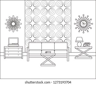 Room in flat design. Linear retro living room interior 60s in line art. Thin line vintage home space with couch, turntable, telephone. Black and white furniture 70s. Outline sketch.