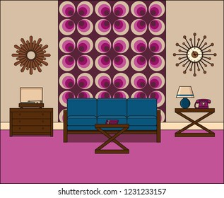 Room in flat design. Retro living room interior 1960s in line art. Linear illustration. Thin line vintage home space with couch, turntable and telephone. House equipment.
