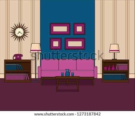 Room In Flat Design Retro Living Interior 60s Line Art Linear Illustration