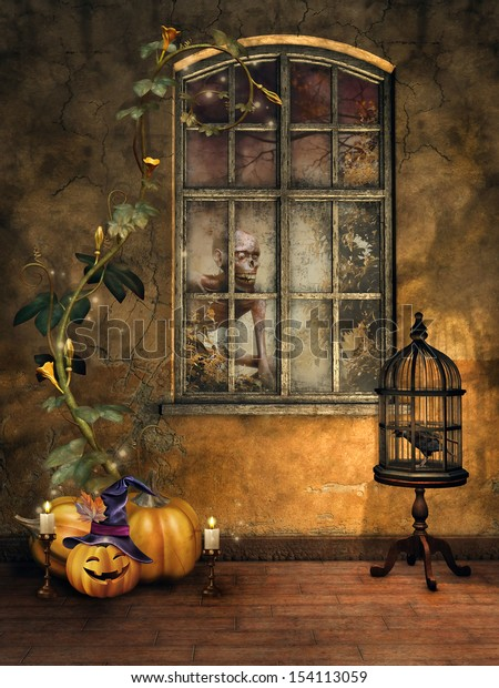Room with Halloween pumpkins, candles, a cage with a raven, and window