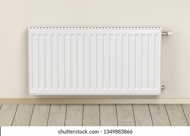 Room heated with panel heating radiator, 3D illustration