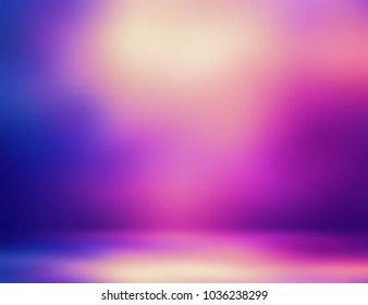 Room interior 3d illustration. Gleam magenta blue yellow ombre. Empty background studio. Abstract gleam texture. Blurred illustration.