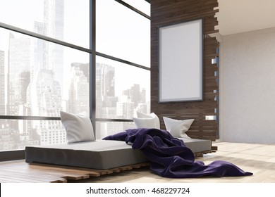 Room interior in big city with bed, purple blanket and vertical framed poster on wooden wall. Concept of comfortable bedroom with great view. 3d rendering. Mock up.