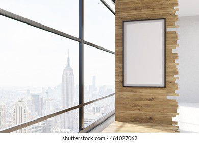 Room interior. Big panoramic window with New York view and vertical framed poster on wooden wall. Concept of aesthetic home. 3d rendering. Mock up.