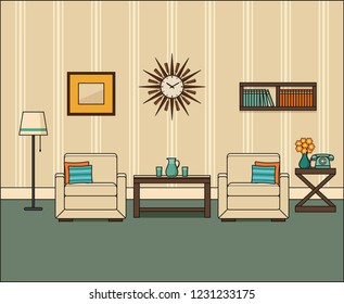 Room interior in flat design. Retro living room in line art. Linear vintage illustration. Thin line home space with armchairs, telephone and coffee table. House equipment 1960s.