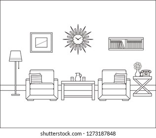 Room interior in line art. Retro living room. Linear vintage illustration. Thin line home space with armchairs, telephone, tables. Flat house equipment 60s. Outline sketch. Black, white furniture 70s