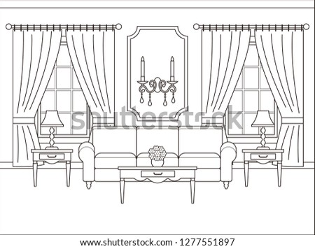 Royalty Free Stock Illustration Of Room Interior Linear Living Room