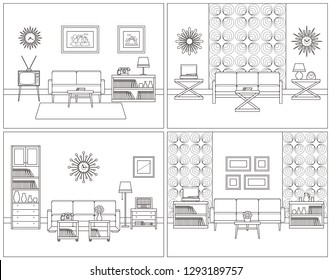 Room interior. Living room linear set. Retro thin line home space with furniture, house equipment. Flat line art style illustration. Outline sketch. Vintage design background. Coloring page.