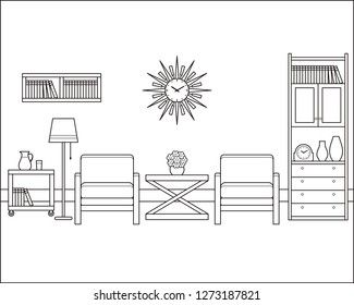 Room interior outline sketch. Retro living room in flat design. Linear vintage illustration. Thin line home space with furniture. Hand draw black white house equipment 60s 70s.
