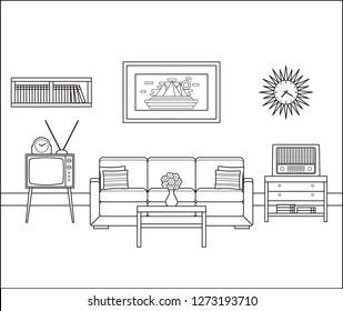 Room interior sketch. Retro living room in line art. Linear vintage illustration. Thin line home space with sofa, TV and radio. Flat house equipment 60s. Outline black white furniture 70s.