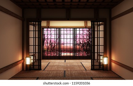 Room interior with window view Sakura tree,Japanese style. 3D rendering