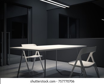 Room for interrogation with two white chairs. 3d rendering