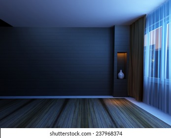 Room with large window and the lamp, 3d rendering