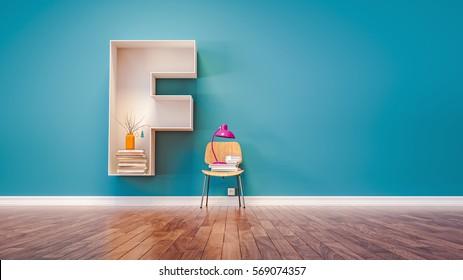 Room For Learning The Letter F Has Designed A Bookshelf 3d Render And Illustration