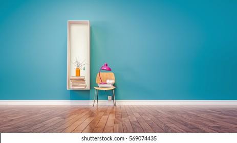 Room for learning The letter I has designed a bookshelf. 3d render and illustration.