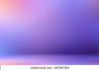 Room lilac ombre empty background. Wall and floor abstract texture. Studio blurred 3d illustration. Pink violet blue defocused template.