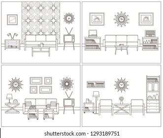 Room linear interior. Living rooms in line art. Flat design furniture. Thin line home space. Retro illustration. Outline sketch. Hand draw black white house equipment. Vintage background.