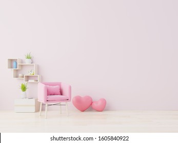 Room love modern interior have armchair and home decor for Valentine's day,3D rendering
