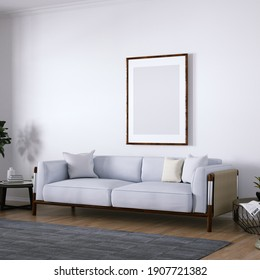 Room with Mid Century Elegant Sofa, Side Tables, Indoor Plant and Wooden Floors. Empty Walls with a Frame Can be Used for Art and Print Mockups, Interior Scene and Wallpaper Mockup Needs. 3D Rendering