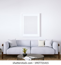 Room with Mid Century Elegant Sofa, Side Tables, Indoor Plant and Wooden Floors. Empty Walls with a Frame Can be Used for Art and Print Mockups, Interior Scene and Wallpaper Mockup Need. 3D Rendering