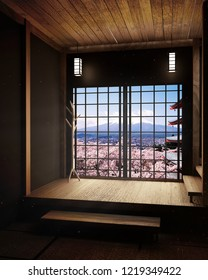 Room minimal design with Tatami mat floor and Japanese, empty room interior, 3D rendering
