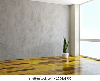 Room with a plant near a window
