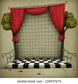 Room with red curtains and vintage wallpaper.