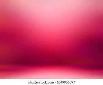 Room red pink 3d illustration. Vibrant studio decor. Blurred texture. Empty background. Defocused pattern flare wall and floor. Abstract template.