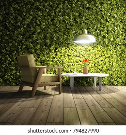 Room for relaxation with wall of green plants. 3D illustration.