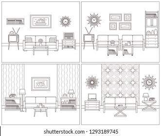 Room retro interior. Living rooms in line art. Flat design furniture sofa, couch, armchair, TV, turntable, telephone, radio, clock. Outline sketch. Home illustration. Vintage linear background.
