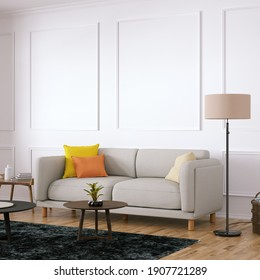 Room with Scandinavian Cozy Sofa, Side Tables and Wooden Floors. Empty Walls with Modern Fretwork Can be Used for Art and Print Mockups, Interior Scene Mockups and Wallpaper Mockup Need. 3D Rendering