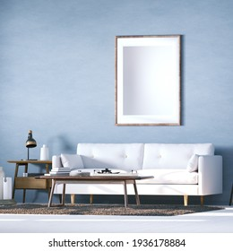 Room with Scandinavian Design Sofa, White Plank Floors, Woolly Carpet and Middle Table with Interior Accessories. Empty Frames can be used for Art, Print and Wallpaper Mockups 3D Illustration