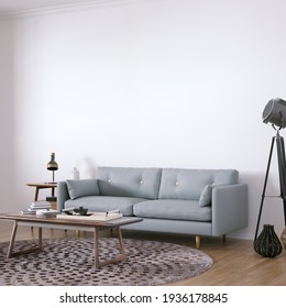 Room with Scandinavian Design Sofa, Wooden Floors, Circular Carpet and Middle Table with Interior Accessories. Empty Walls can be used for Art, Print and Wallpaper Mockups. 3D Illustration