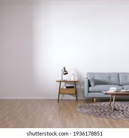Zimmer mit skandinavischem Design-Sofa, Holzböden, Zirkularboden und Mitteltisch mit Innenausstattung. Leere Wände können für Kunst-, Print- und Wallpaper-Aufnahmen verwendet werden. 3D-Illustration
