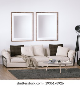 Room with Scandinavian Design Sofa, Wooden Floors, Circular Carpet and Cactus Plant with Interior Accessories. Two Empty Frame on Walls can be used for Art, Print and Wallpaper Mockups 3D Illustration