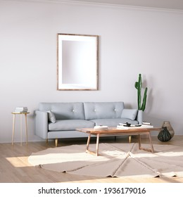 Room with Scandinavian Design Sofa, Wooden Floors, Circular Carpet and Cactus Plant with Interior Accessories. Empty Frame on Walls can be used for Art, Print and Wallpaper Mockups. 3D Illustration