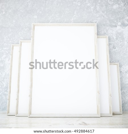 Room Several Blank Picture Frames Leaning Stock Illustration ...