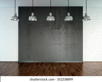 Room with spotlight lamps, empty  space with wooden flooring and brick wall as background. 3d rendering interior