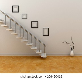 room with stairs and frames