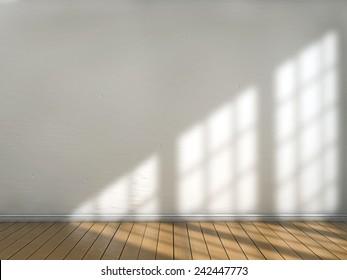 Room with sun light illuminating from a window