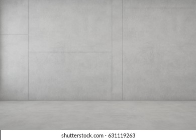 Room with white concrete floor and empty wall background in modern house - 3D rendering