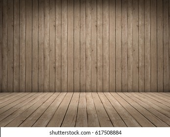 Room with wood wall and wood floor with beautiful light